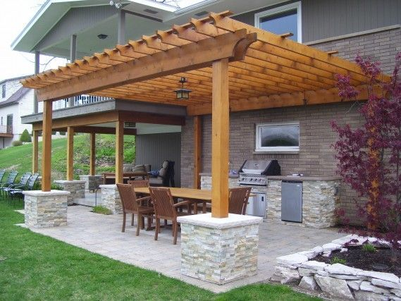 small pergola over brick patio, perfect for a not so huge backyard .