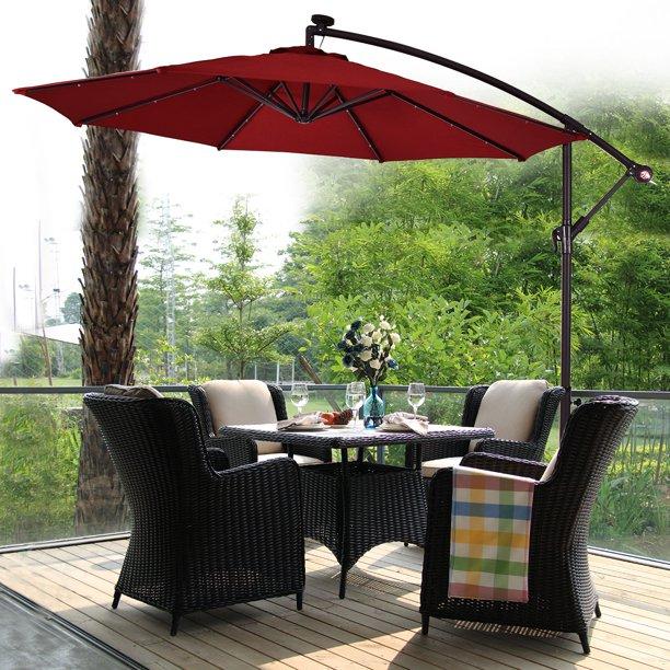 Costway 10' Hanging Solar LED Umbrella Patio Sun Shade Offset .