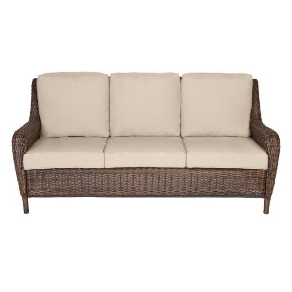 Hampton Bay Cambridge Brown Wicker Outdoor Patio Sofa with .