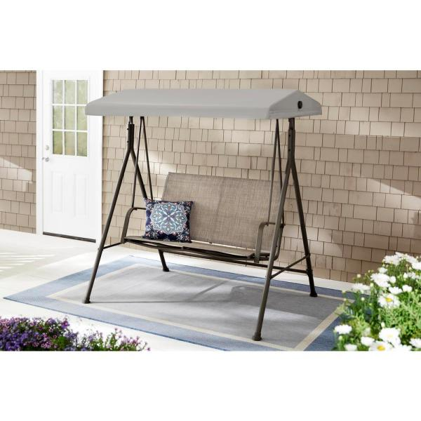Hampton Bay Mix and Match 2-Person Steel Sling Dark Taupe Outdoor .