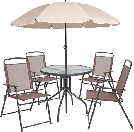 Amazon.com: Flash Furniture Nantucket 6 Piece Brown Patio Garden .