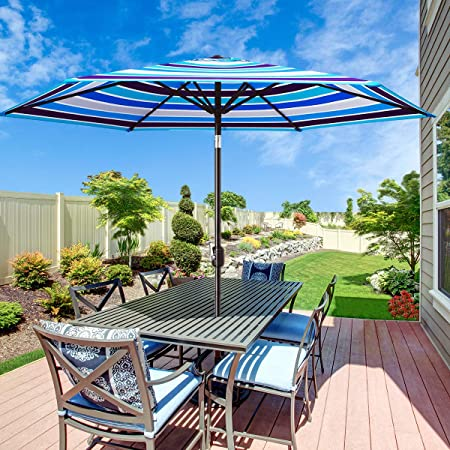 Amazon.com : MOVTOTOP Patio Umbrella 9Ft UPF 50+ Premium Outdoor .