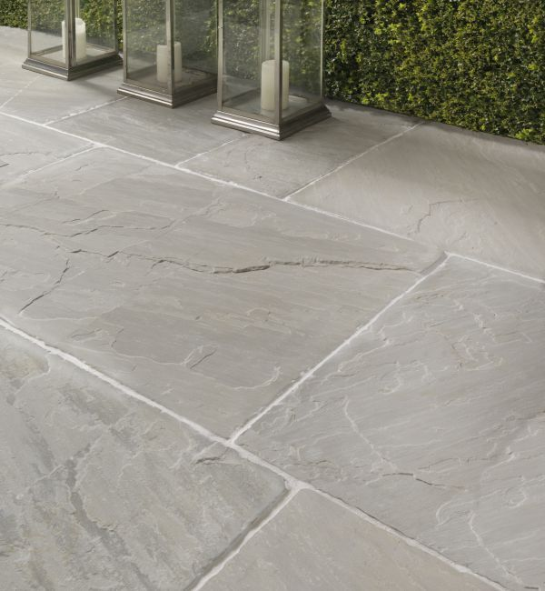 Salcombe Sandstone in a seasoned finish. Patio tiles with soft .