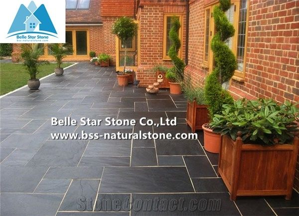Black Riven Slate Tiles,Charcoal Grey Split Face Stone Pavers .