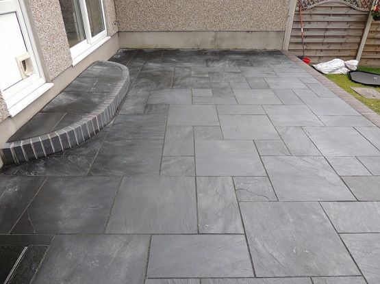 Black slate patio tiles for small narrow patio flooring | Slate .