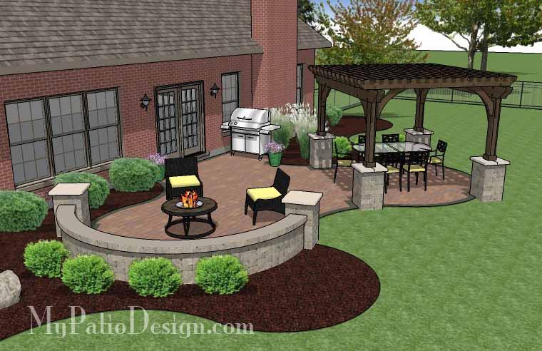 Concrete Paver Patio Design with Pergola | Download Plan .