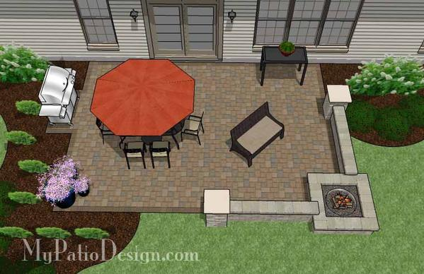Large Rectangular Paver Patio Design with Fire Pit – MyPatioDesign.c
