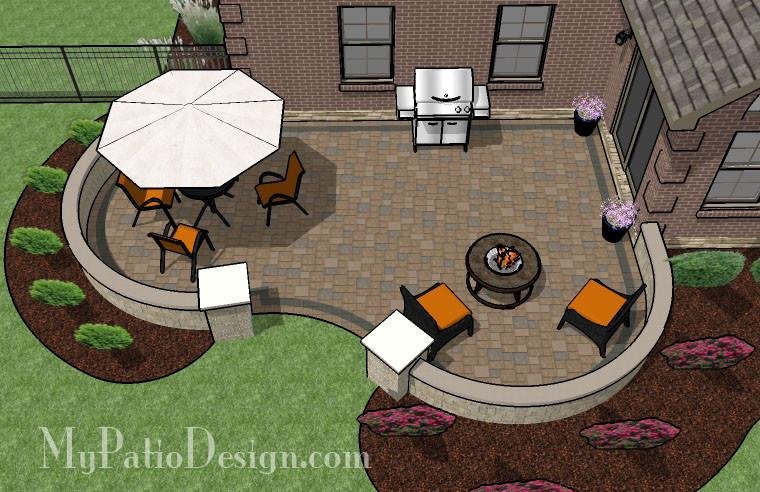 Cozy Curvy Paver Patio Design with Seat Wall | Download .