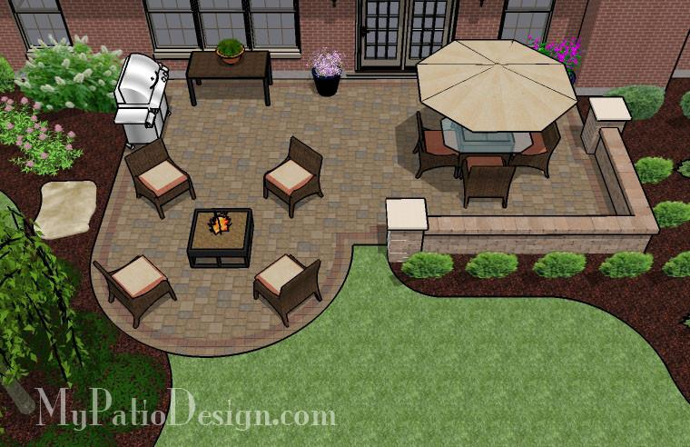 Dreamy Paver Patio Design with Seat Wall | Download Plan .