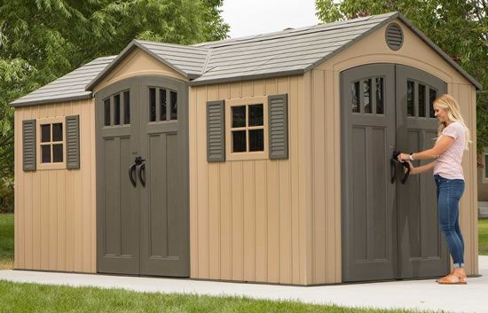 Lifetime 15x8 Plastic Storage Shed Kit w/ Double Doors (60079 .