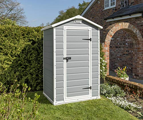 Keter Manor Plastic Garden Shed, Grey, 4 X 3 Ft - ASTONSHEDS