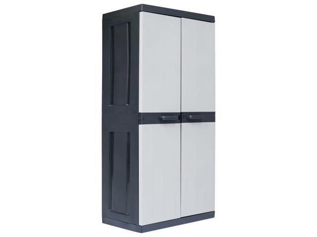 "vidaXL Garden Storage Cabinet XXL 74.8"" with 4 Shelves Plastic ."