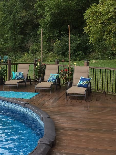Above-ground pool deck surround. Composite or PVC decking is a .