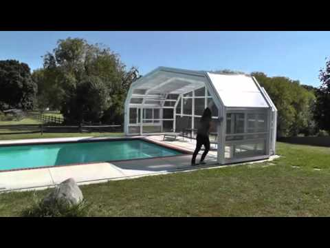 Retractable Pool Enclosures- Woman Opens Enclosure Manually - YouTu
