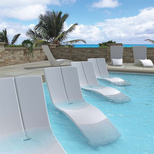 Tropitone In-Pool Furniture, Curve Chaise Lounge made of Rotoform .