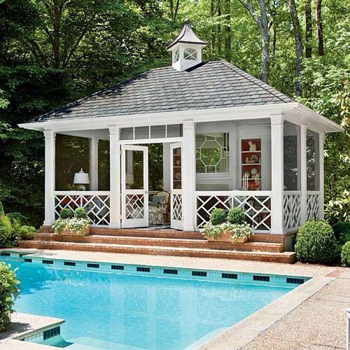Pretty pool house/screen porch idea | Pool houses, Pool house .