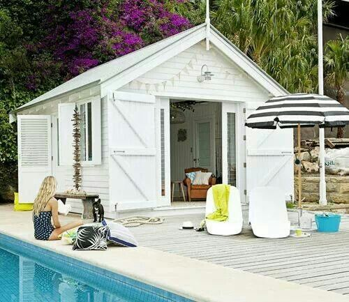 Pool house out of a simple shed from Home Depot. It just needs a .