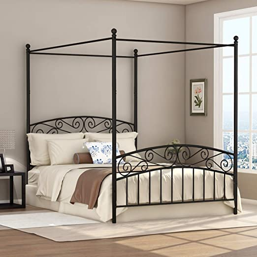 Amazon.com: Deluxe Design Queen Size Metal Canopy Bed Frame with .