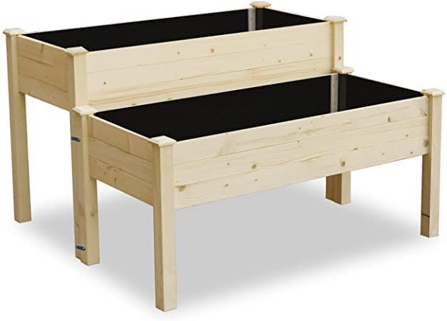 Amazon.com: LYNSLIM Wooden 2 Tiers Elevated Raised Garden Bed .