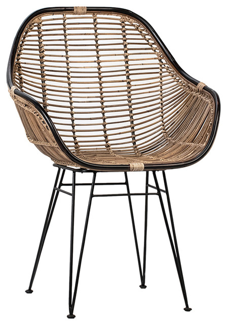 Modern Black & Rattan Dining Chair - Tropical - Dining Chairs - by .