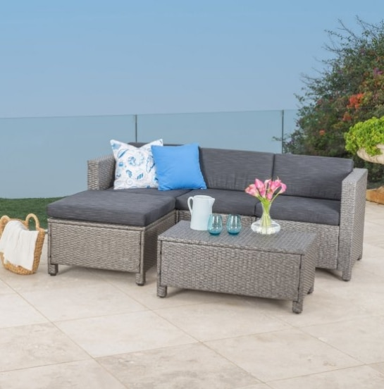 Hot sale garden furniture bistro rattan sofa set small outdoor .