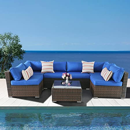 Amazon.com: Outime Patio Sofa Brown Rattan Garden Sectional Sofa .