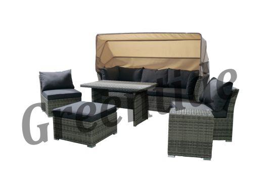 China Rattan Garden Furniture Patio Sofa Sets with Canopy - China .