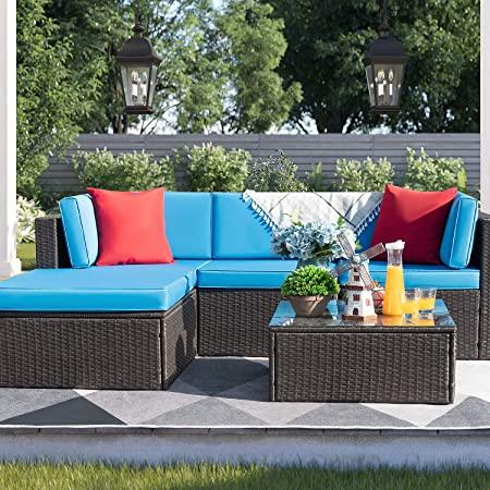 Amazon.com : Devoko 5 Pieces Patio Furniture Sets All-Weather .