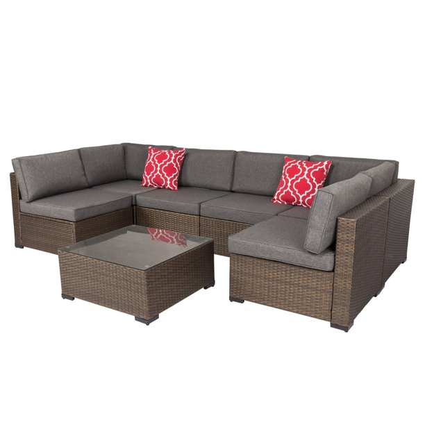 Kinbor 7pcs Outdoor Patio Furniture Sectional Pe Wicker Rattan .