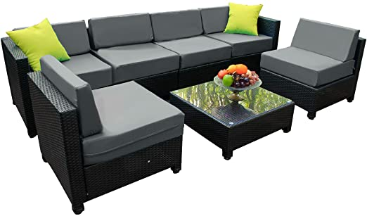 Amazon.com: Mcombo Aluminum Patio Furniture Sectional Set Outdoor .