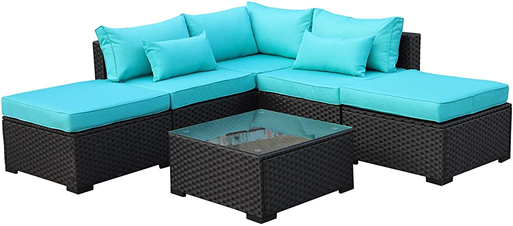 Amazon.com : Rattaner Outdoor Wicker Sofa Set- 6 Piece Patio .
