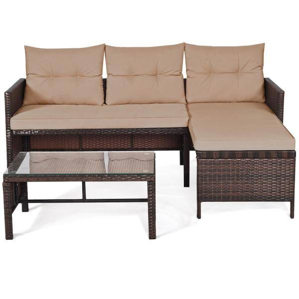 costway 3-Pieces Rattan Wicker Sofa Set Outdoor Patio Sectional .