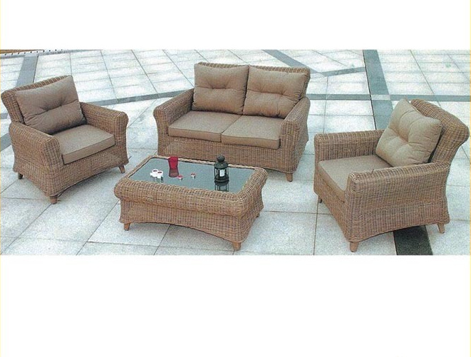 China Khaki Color Outdoor Rattan Sofa Set Used Hotel Furniture .