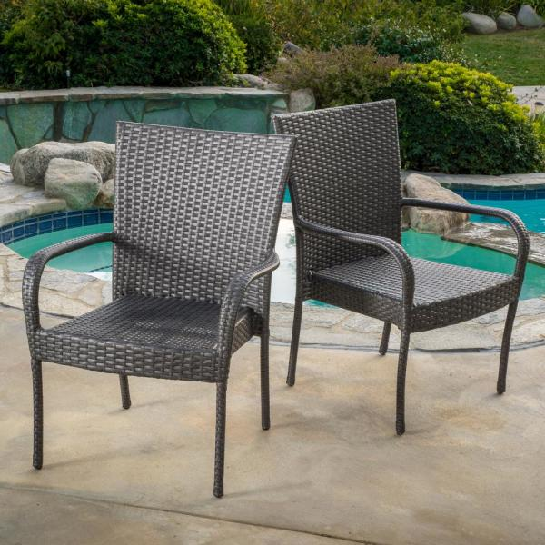 Noble House Gray Stackable Wicker Outdoor Dining Chair (Set of 2 .