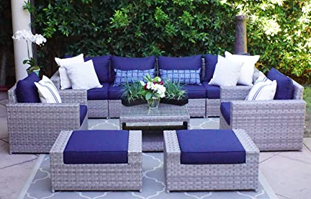 Amazon.com: SunHaven Resin Wicker Outdoor Patio Furniture Set - 9 .