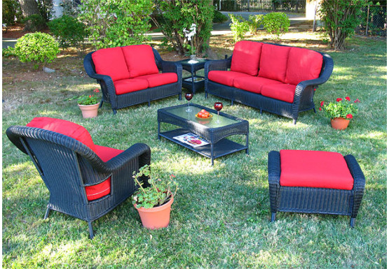 6 Piece Laguna Beach Resin Wicker Patio Furniture with Sofa & Love .
