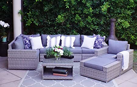 Amazon.com: SunHaven Resin Wicker Outdoor Patio Furniture Set - 8 .