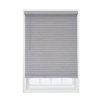 Allen + roth 2-in Cordless Gray Faux Wood Room Darkening Blinds .
