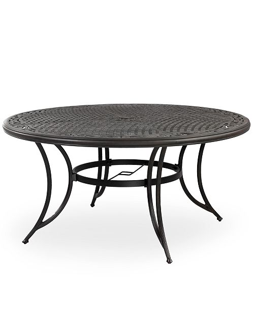 "Furniture Cast Aluminum 60"" Round Outdoor Dining Table, Created ."