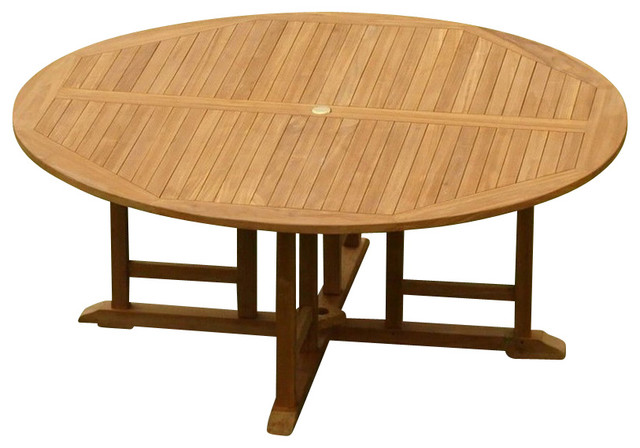 "72"" Round Dining Outdoor Teak Table - Contemporary - Outdoor ."