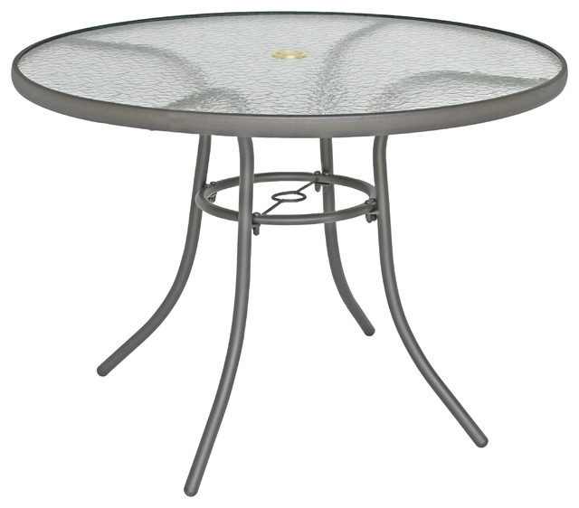 Rio Brands 40 inch Sienna Round Patio Table with Tempered Glass .