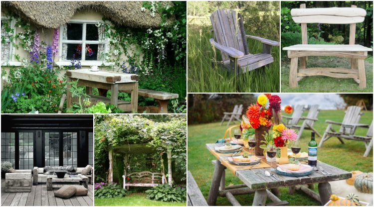 Rustic garden furniture for charm and a natural look   My desired ho
