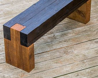 Wood bench outdoor modern rustic garden patio entryway dining .