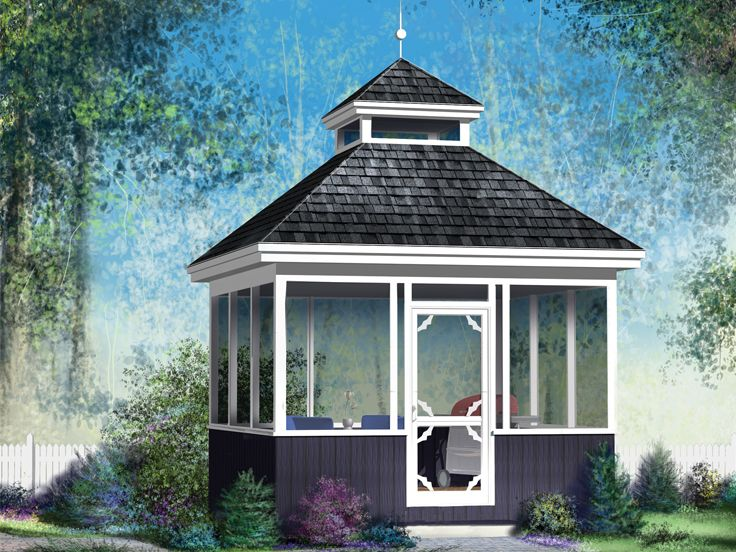 Gazebo Plans | Screened Square Gazebo Plan # 072X-0047 at www .