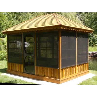 A screened-in patio gazebo is a protected outdoor hideaway perfect .