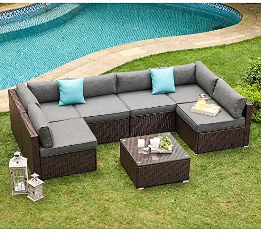 Amazon.com: COSIEST 7-Piece Outdoor Patio Furniture Chocolate .