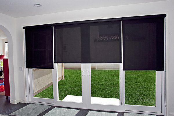 Roller shades on a sliding glass door | Yelp | Sliding door blinds .