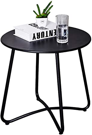 Amazon.com : CaiFang Patio Side Table Outdoor, Small Round Metal .