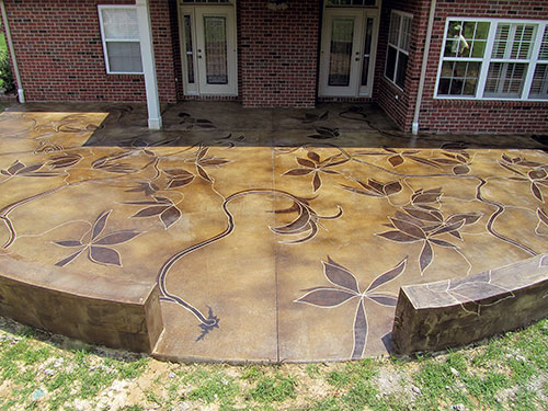 Backyard Patio Sports Acid Stained Vines | Concrete Dec
