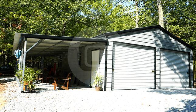 36x36 Vertical Roof Lean-to Garage | 36x36 Steel Garage Pric